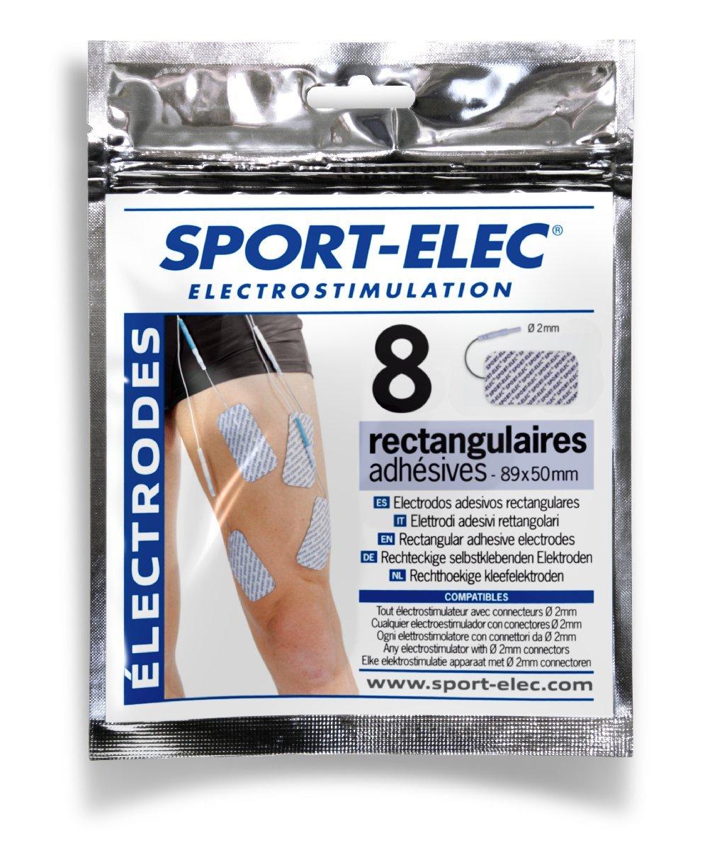 Sport Elec Electrodos rectangulares unidades x mm color azul y blanco