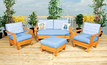 Margaritaville Aruba Patio Furniture Conversation Set   Blue And Palm Tree  Reverible Cushions