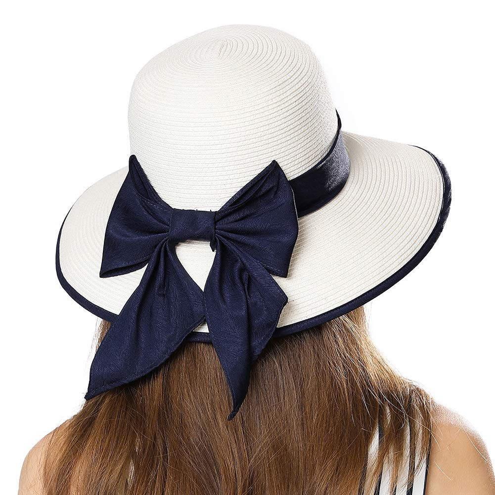 Straw Sun Uv Hat Fedora for Women Summer Beach Wide Brim Cloche Black Ribbon White