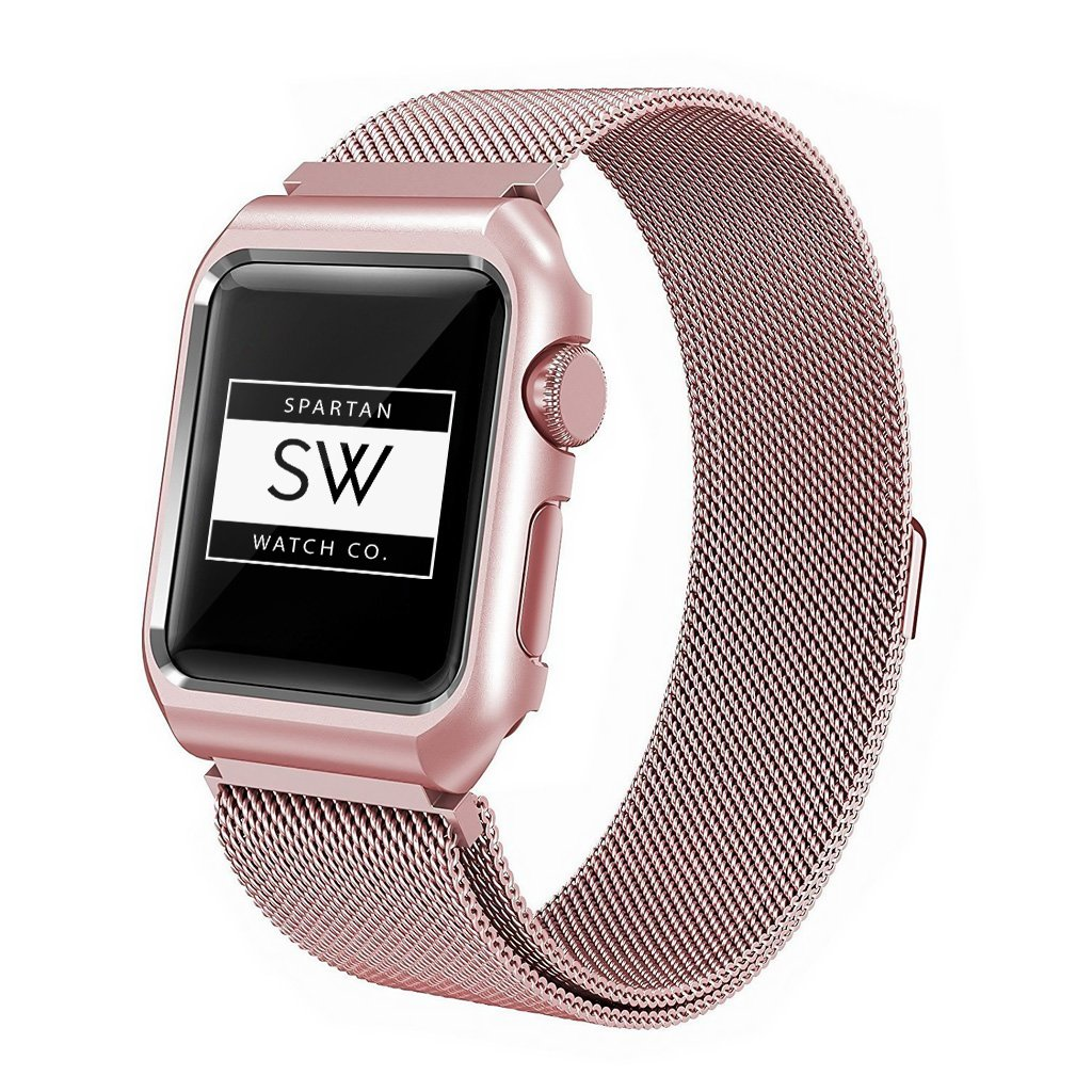 Watch Band for Apple - Milanese Magnetic Clasp, Replacement Wristband Loop, Stainless Steel Case Bracelet for iWatch Series 42 mm – Unisex – Rose Gold by Spartan Watch Co.