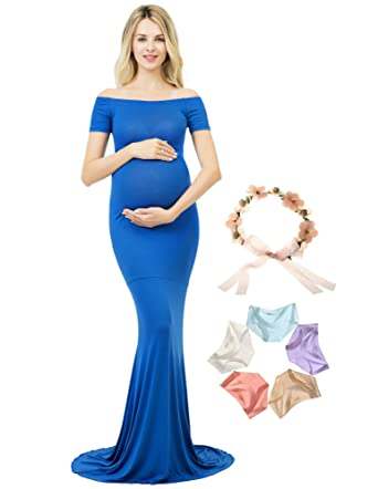 a90cefde04e6 Photoshoot Maternity Dress Off Shoulder Photography Gown Maxi Short Sleeve ( Blue, M) at Amazon Women's Clothing store: