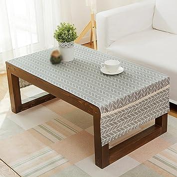 Salon Table basse Tissu Nappe Rectangulaire Tissu de lin Moderne ...