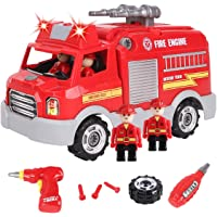 REMOKING STEM Educational Take Apart Vehicle Toys,32Pcs Fire Engine Set with Electric Drill&Lights&Sounds,Best Boys and…