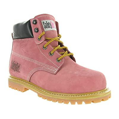 Safety Girl GS003-Lt Pink-9.5M Steel Toe Work Boots - Light Pink - 9.5M, English, Capacity, Volume, Leather, 9.5M, Pink (): Industrial & Scientific