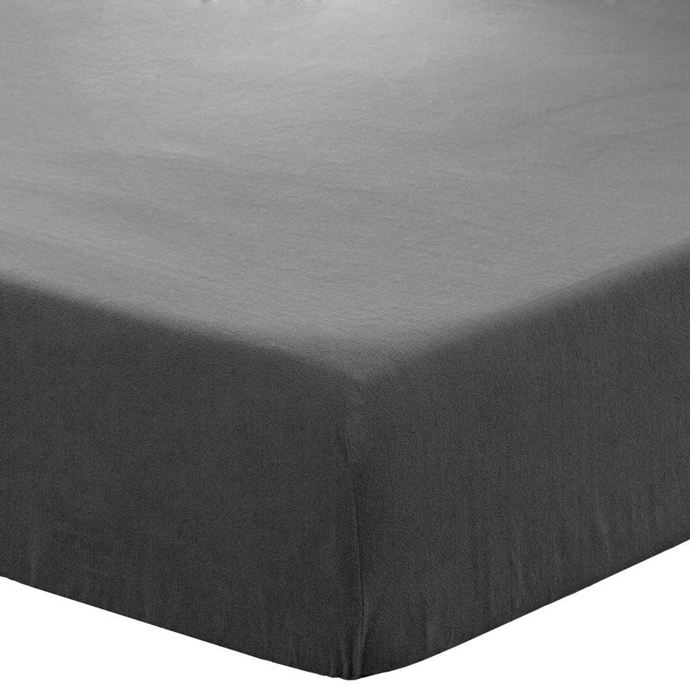 Bare Home Fleece Fitted Bottom Sheet Hypoallergenic Deep Pocket Ultra Soft Micro Fleece (Twin, Grey) MF-643665956765