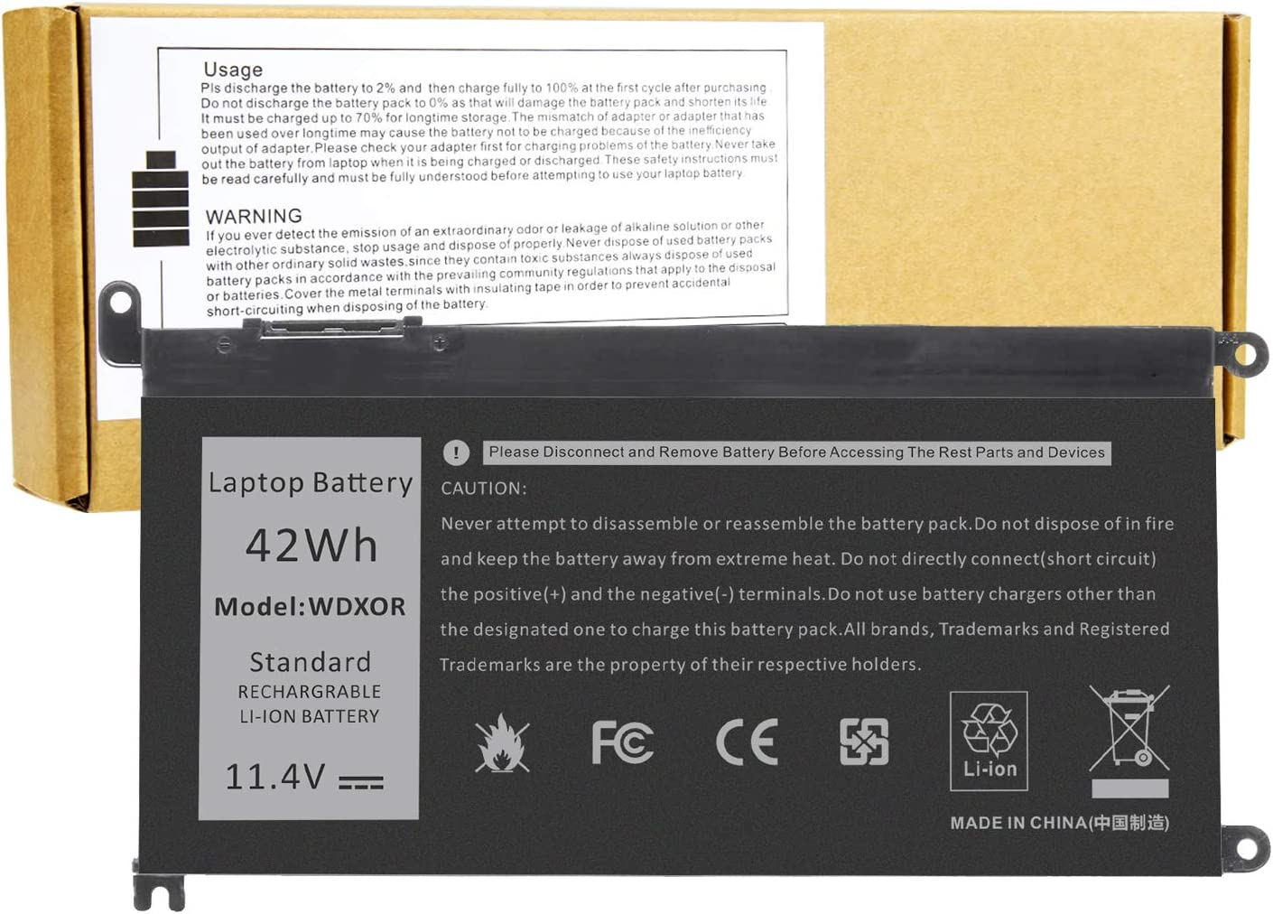 WDX0R Laptop Battery for Dell Inspiron 13 5000 5368 5378 5379 7368 7378 Inspiron 14-7460 Inspiron 17 5765 5767 5770 Series Notebook Battery FC92N 3CRH3 T2JX4 CYMGM