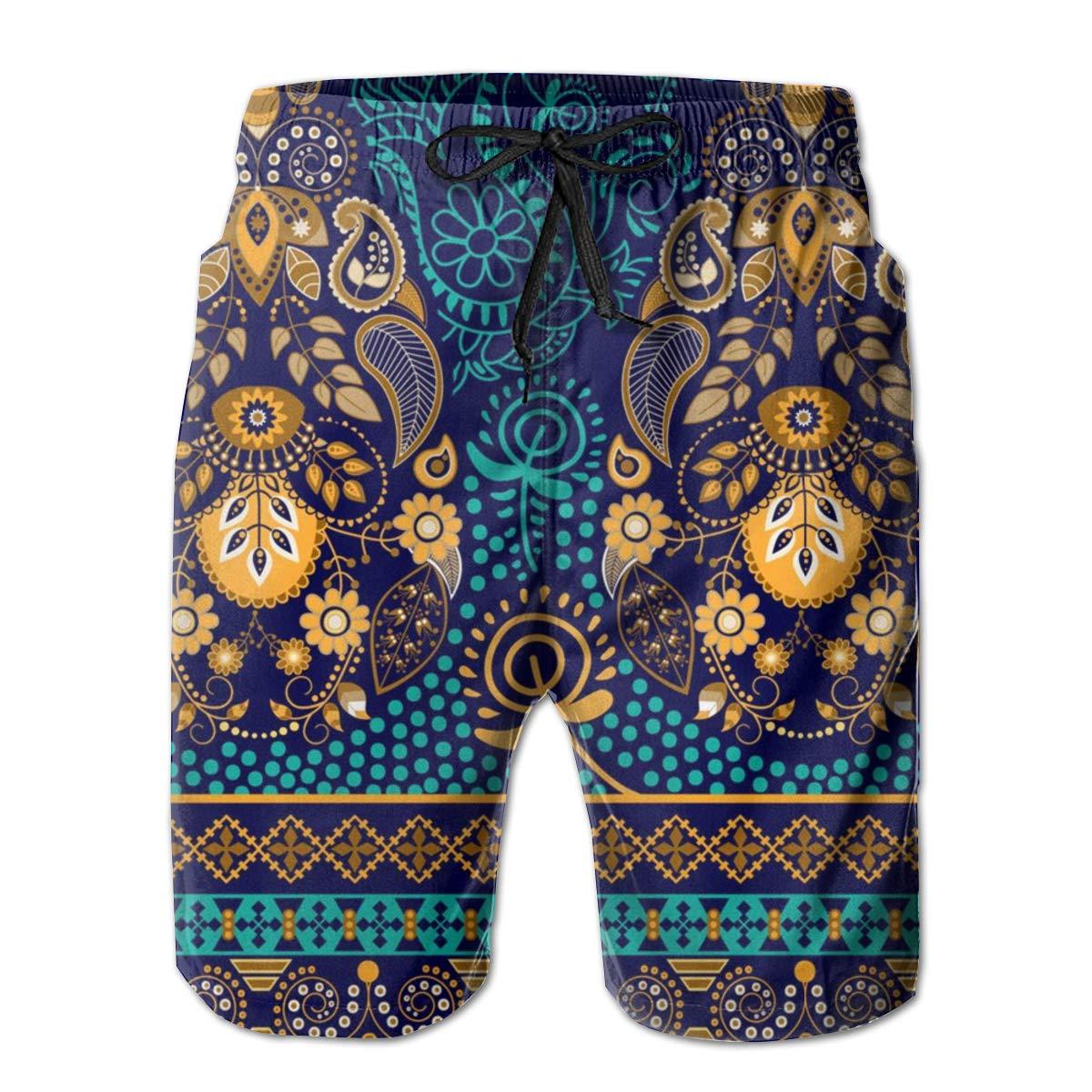 YOUSHO Mens Swim Trunks Paisley Wallpaper Beach Shorts Quick Dry Mesh Lining Board Shorts Swimwear with Pockets