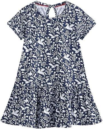 Vestido de verano lindo de las niñas Vestido de camiseta de algodón casual con estampado floral