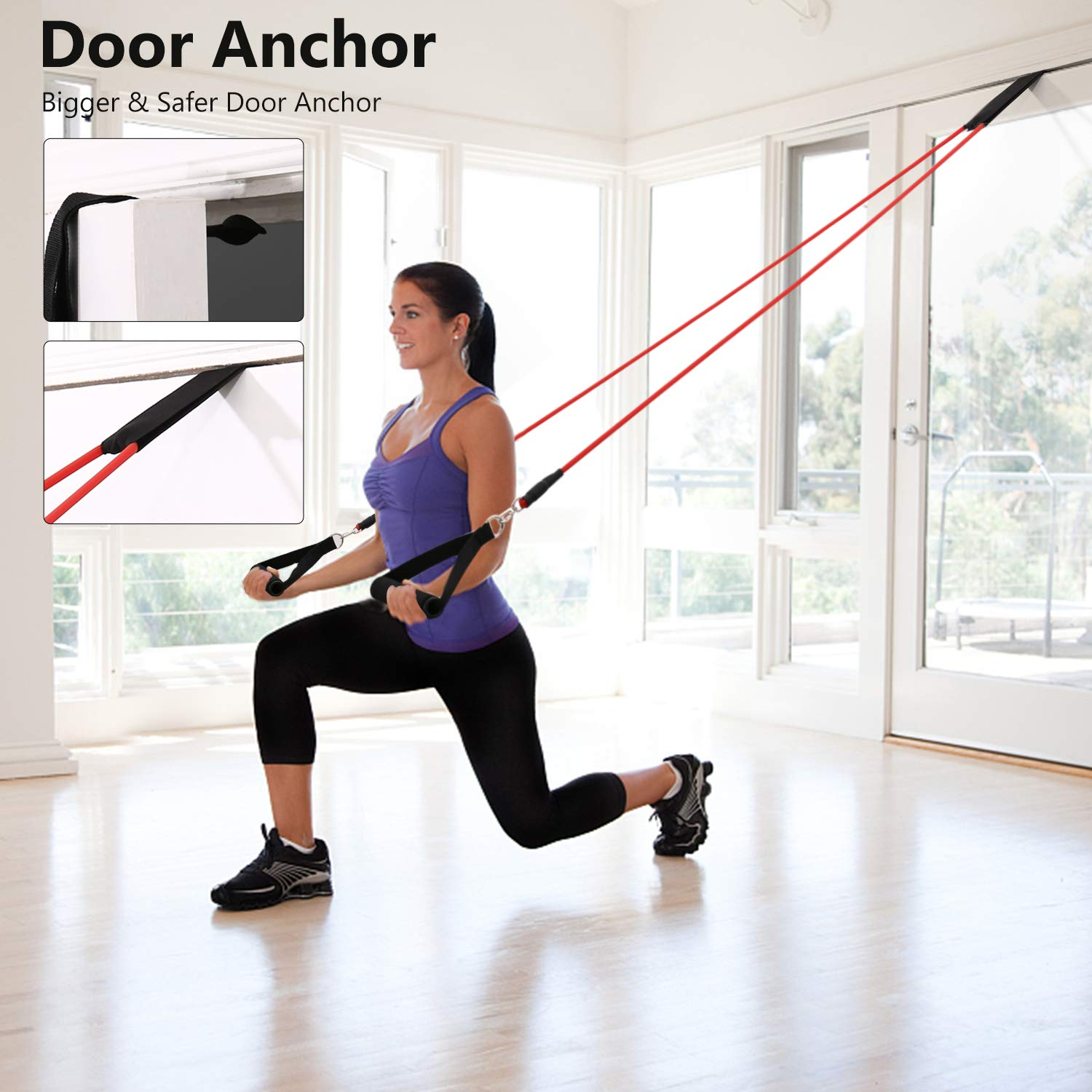 Resistance Band Set 12 Pieces Includes 5 Exercise Tubes Workout Body Gym Ankle Strap Bands Guide Rubber