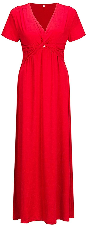 Bewish Women's Plus Size Short Sleeve Empire Waist V-Neck Maxi Long Dress Casual