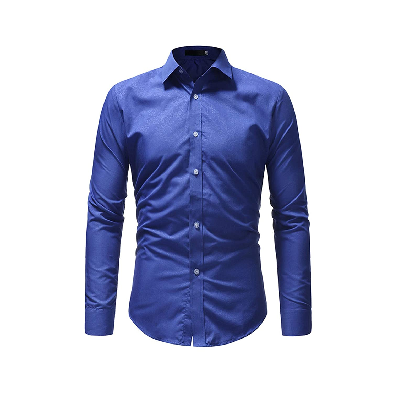 Men Dark Floral Print Shirt Casual Long Sleeve Male Black Tuxedo Dress Shirts Slim Fit Business Office Top XXXL