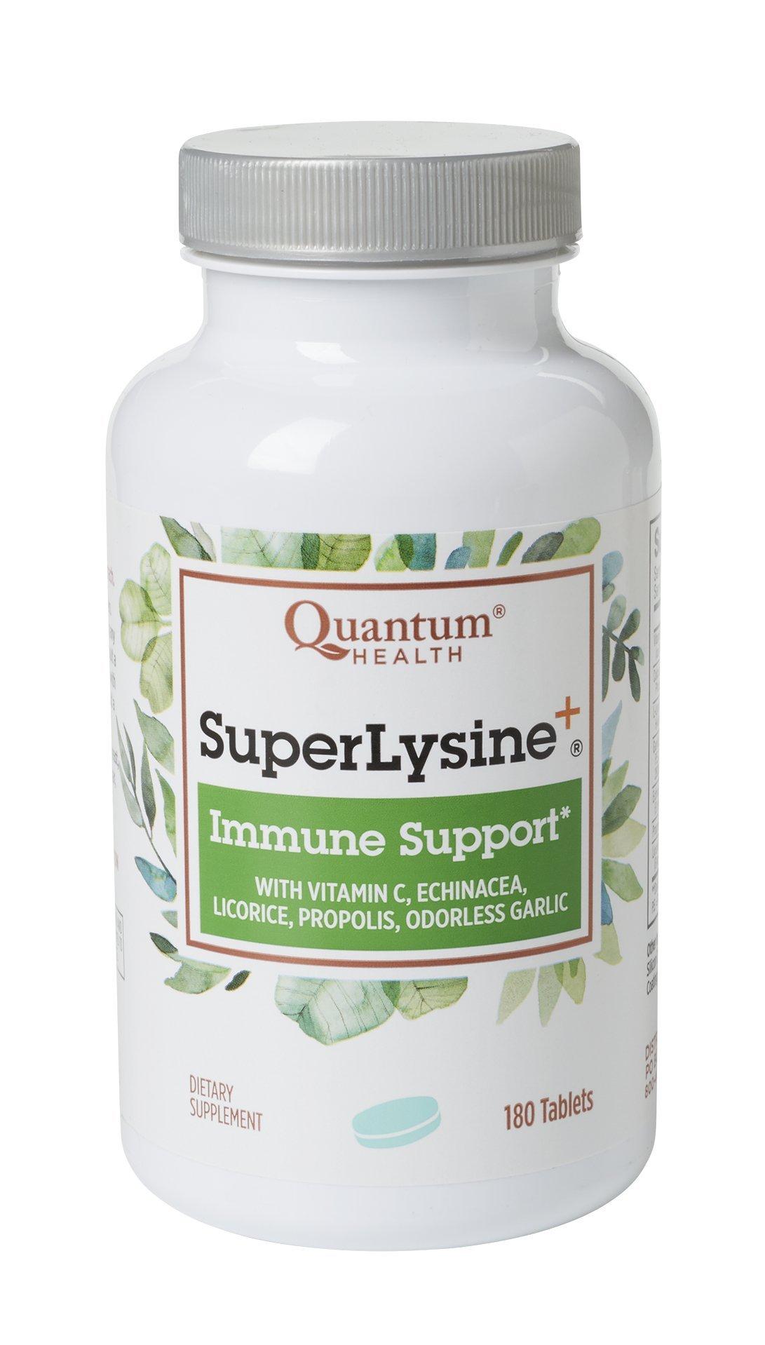 Quantum Health Super Lysine+ / Advanced Formula Lysine+ Immune Support with Vitamin C, Echinacea, Licorice, Propolis, Odorless Garlic (180 Tablets) by Quantum