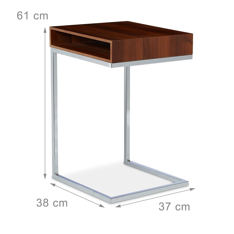 Bianco Relaxdays 10020361/_49 Tavolino con Piedistallo da//per Soggiorno Legno 38x37x61 cm