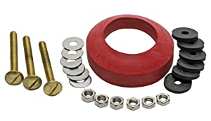 Fluidmaster 6106 Universal Tank-To-Bowl Gasket, with 2 3/4-Inch Hardware, Including 3 Brass Bolts
