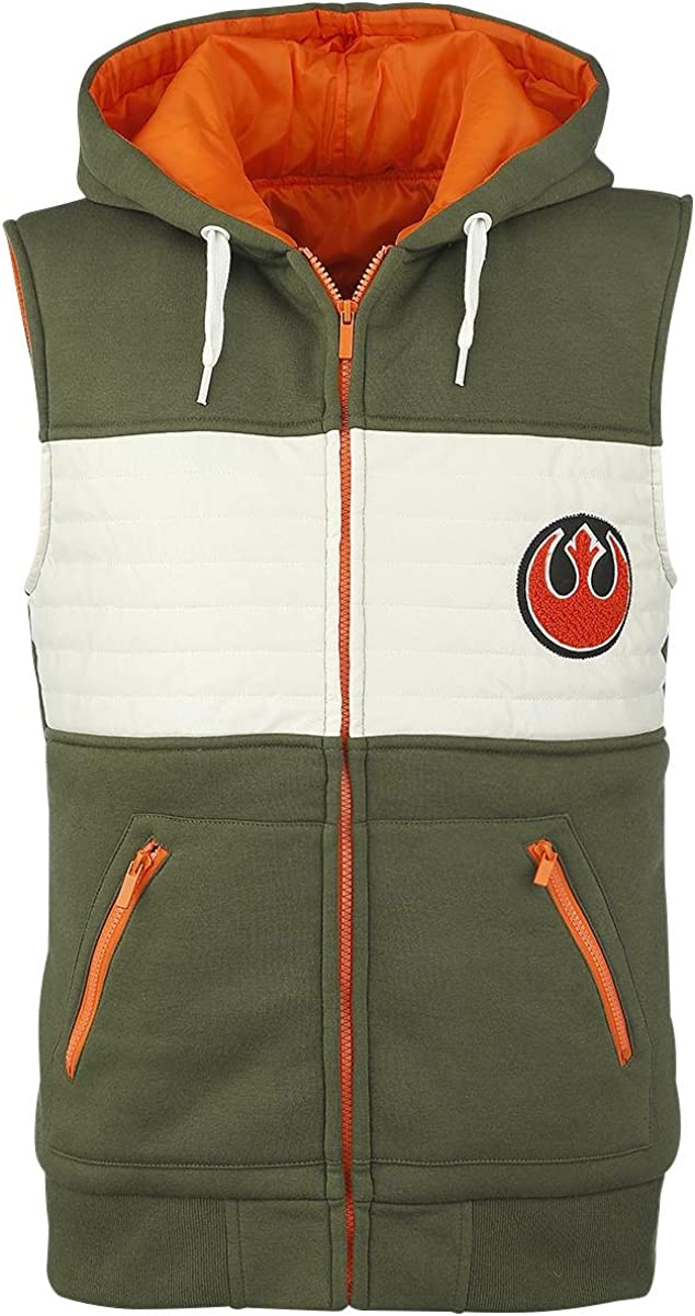 TALLA XXL. STAR WARS Rebel Fighter Chaleco Verde-Blanco-Naranja
