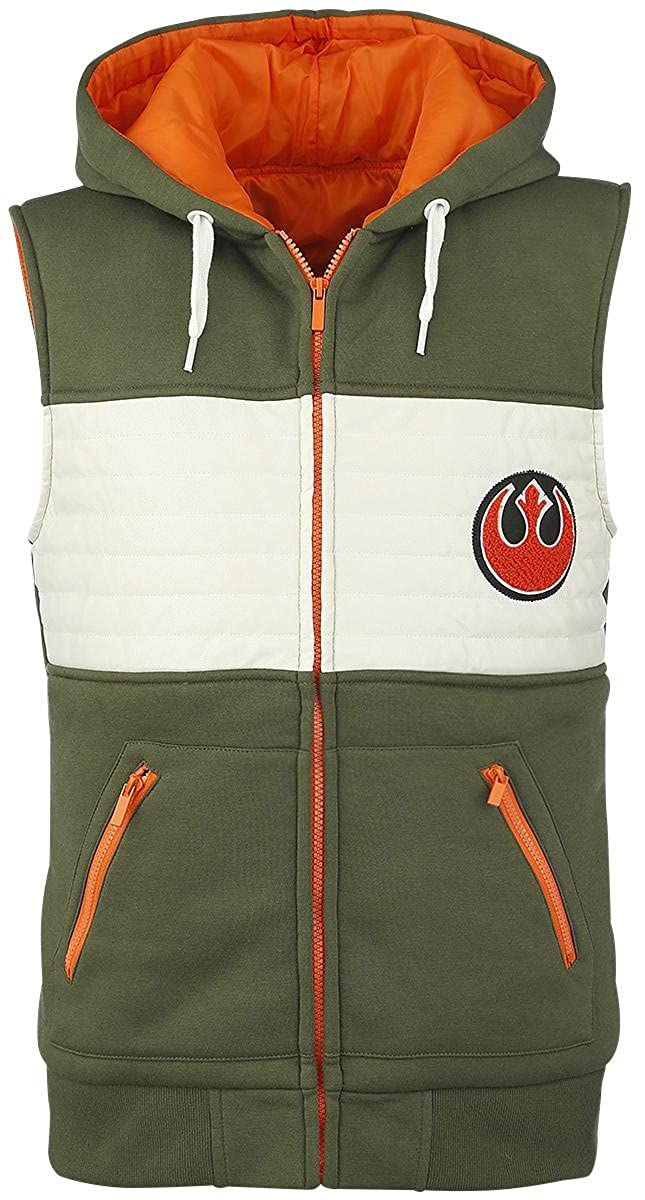 TALLA XXL. Star Wars Rebel Fighter Chaleco con Capucha Verde-Blanco-Naranja
