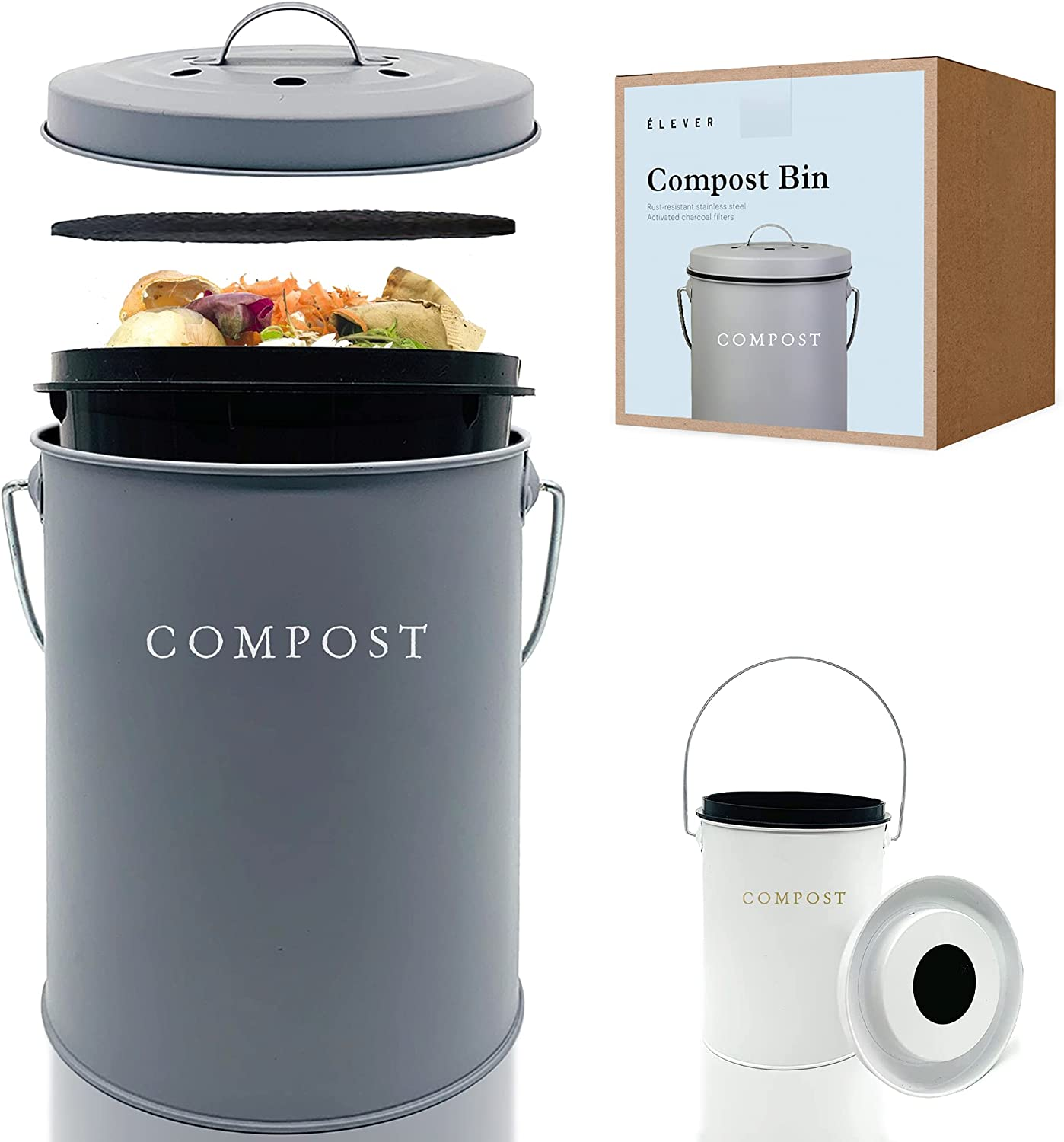 Compost Bin Kitchen Charcoal Filter, Stainless Steel Countertop Compost Bin With Lid for Compost Starter with Inner Compost Bucket for Kitchen, Compost Tumbler Zero Waste Recycling Kitchen Compost Bin