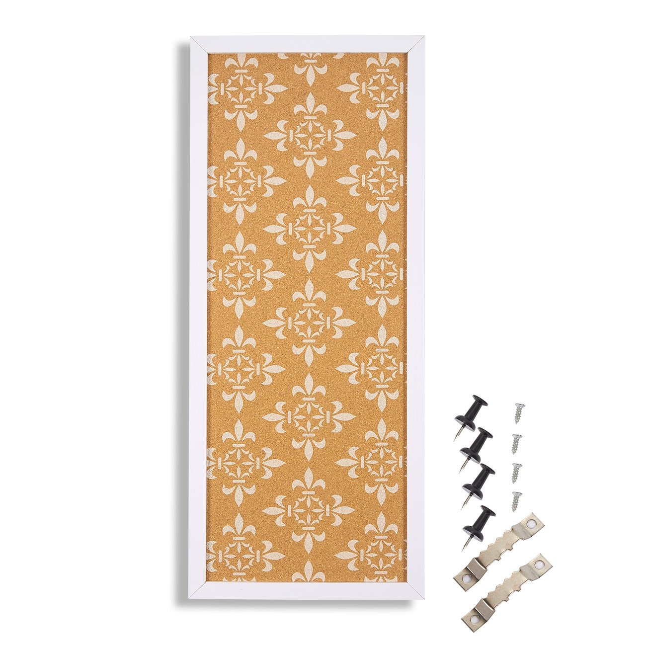 Cork Bulletin Board - Decorative Framed Corkboard Wall Decorwith White Floral Print - Perfect for Pinning Memos and Reminders - White, 23.7 x 9.7 x 0.6 inches Juvale