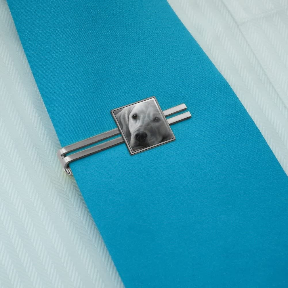 Graphics and More White Golden Retriever Tired Sleepy Dog Square Tie Bar Clip Clasp Tack Silver or Gold