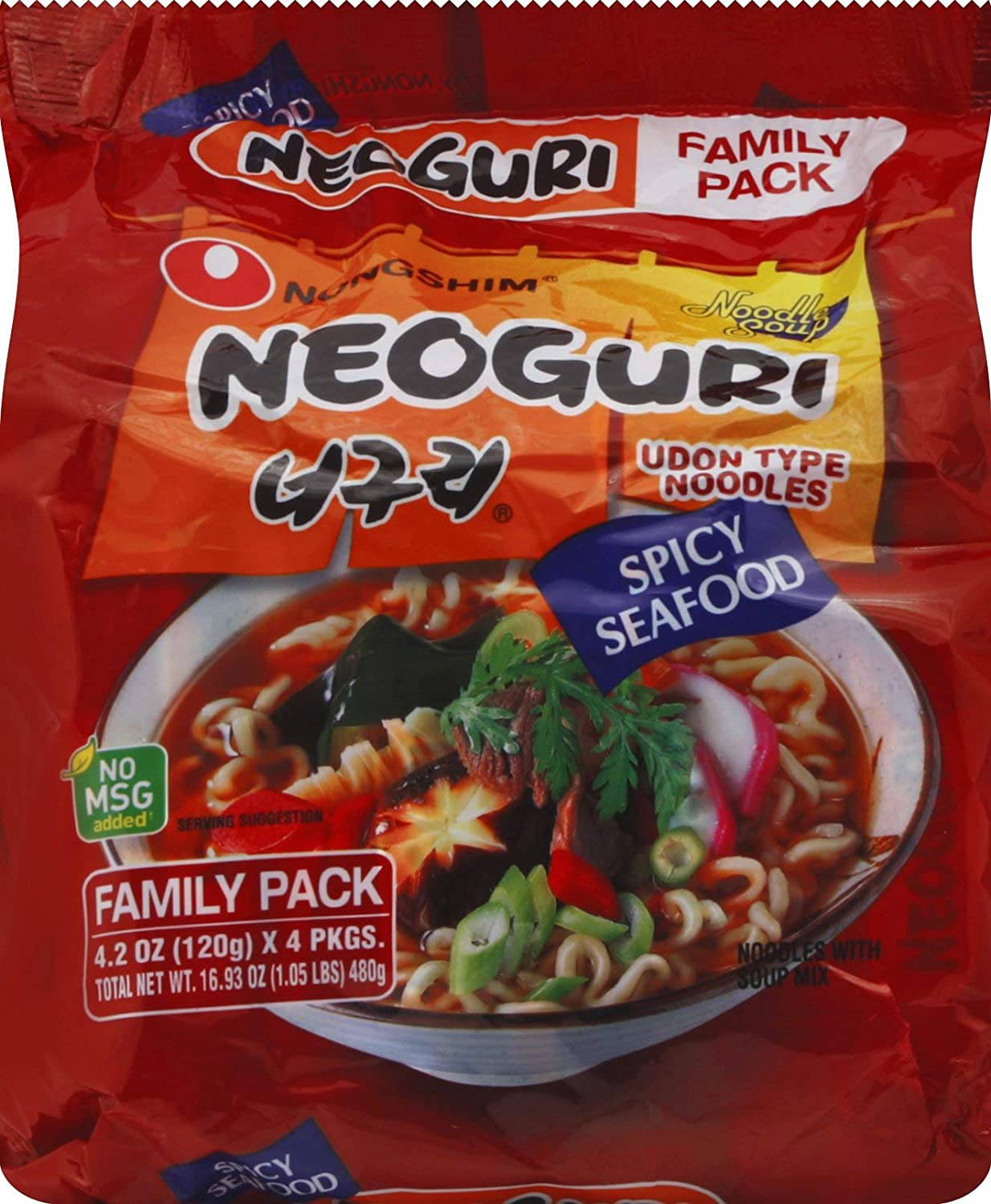 Neoguri, Spicy Seafood Udon Noodles Family Pack, 4 - 4.23 oz packs