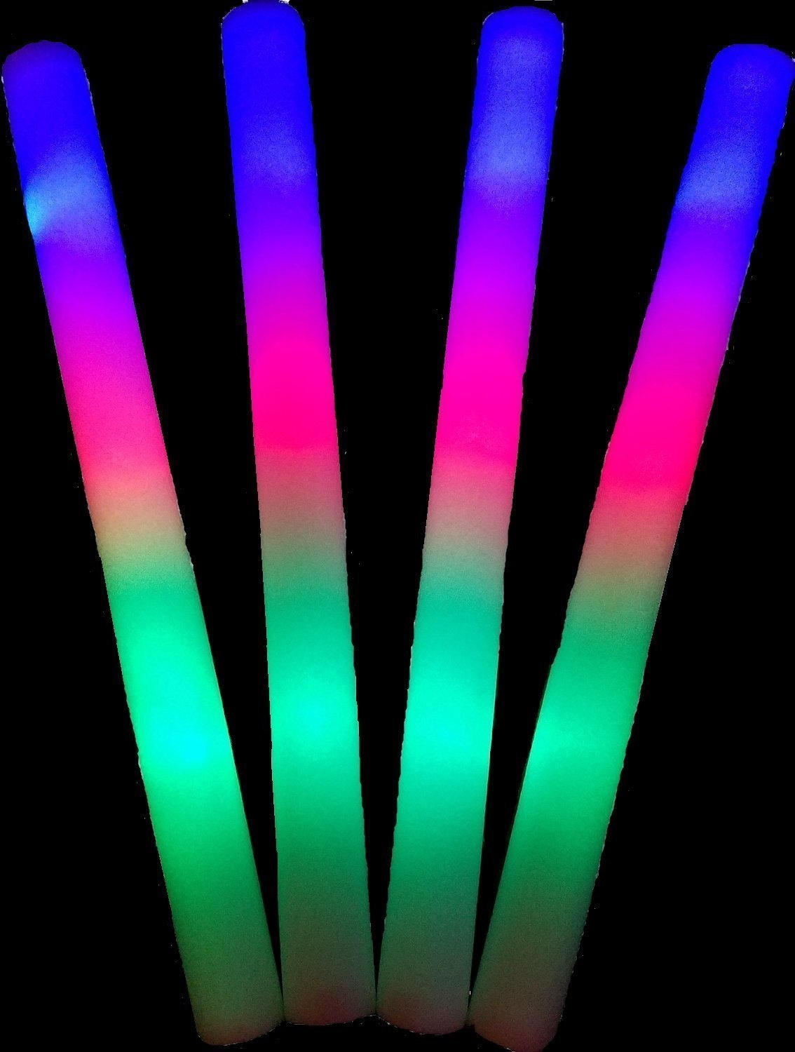 ❗ 100 pack of 18'' Multi Color Foam Baton LED Light Sticks - 3 model flashing, Multicolor Color Changing Rally Foam Sticks by YMCtoys (Image #2)