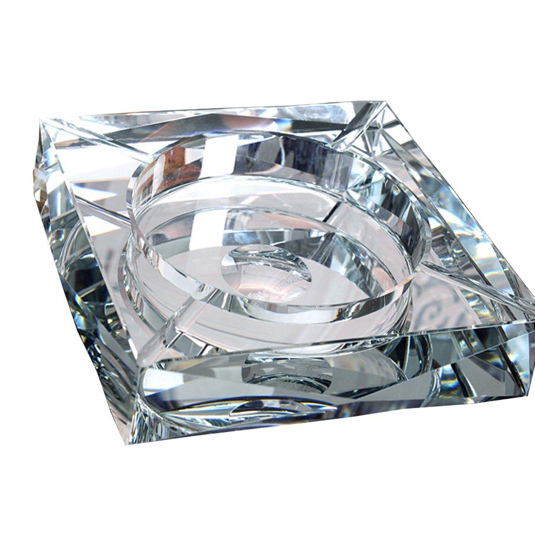 灰皿 クリスタル ガラス スクエア 高級 アッシュトレイ おしゃれ灰皿 シルバー 18cm OSONA B01HI2WJCO 18cm|シルバー シルバー 18cm