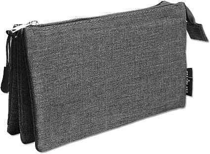 170122 - Estuche de 3 compartimentos interiores, 1 cremallera exterior y una exterior, colores variados (Negro): Amazon.es: Oficina y papelería