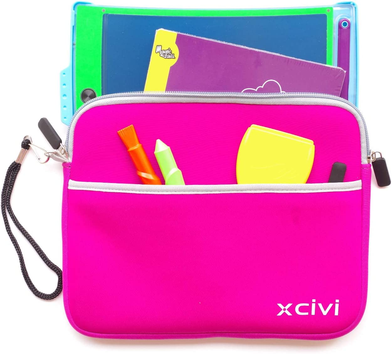 Blue Xcivi Neoprene Protective Carry Case for Boogie Board Scribble n Play with Zip Accessary Pocket