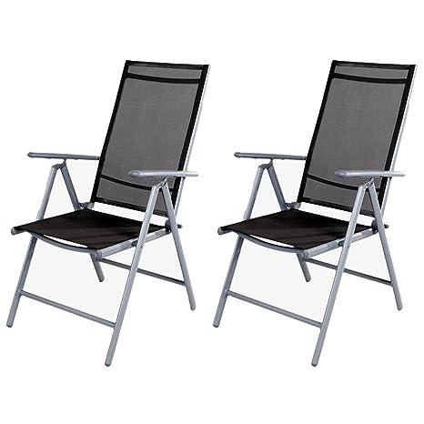 2 PZ Sedia da giardino - sedia con schienale alto 7 posizioni ...