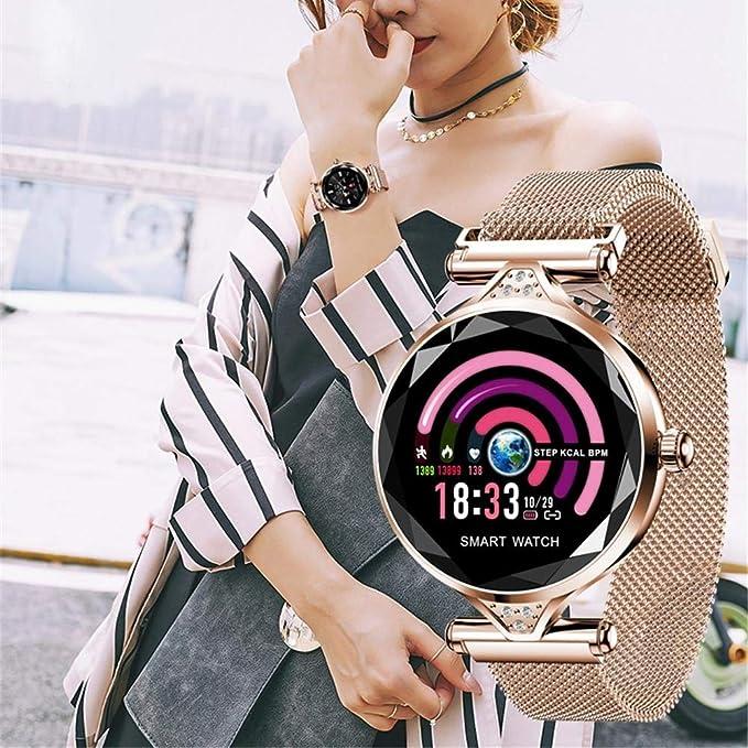 Amazon.com: H1 las Mujeres reloj inteligente Monitor de Ritmo cardíaco rastreador de ejercicios DAMA reloj de pulsera Bluetooth impermeable (Blue): ...