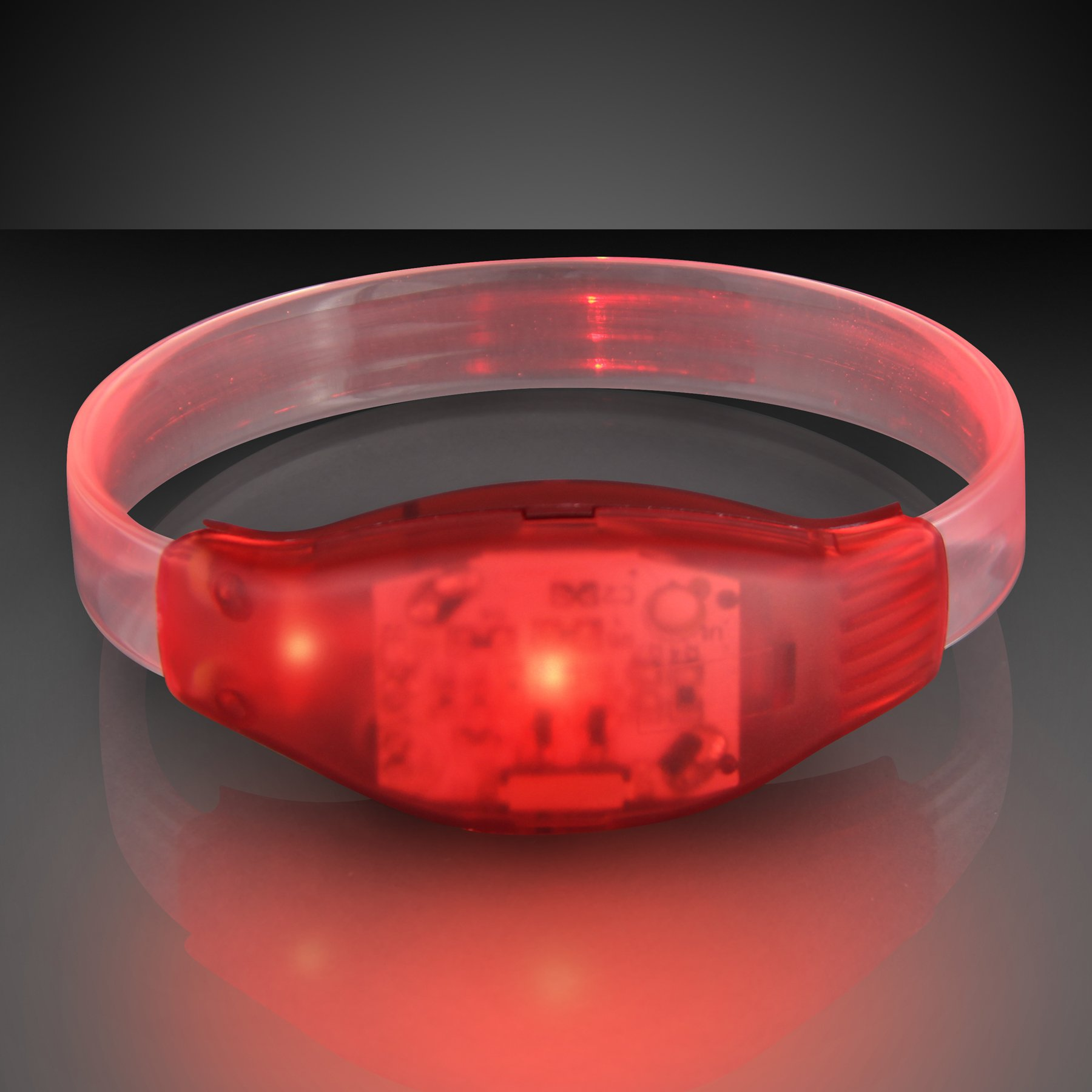 FlashingBlinkyLights Light Up Red Sound Activated LED Bracelet (Set of 12)