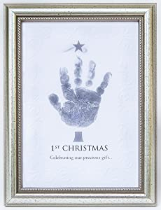 The Grandparent Gift Frame Wall Décor, Baby's First Christmas Frame for Handprint