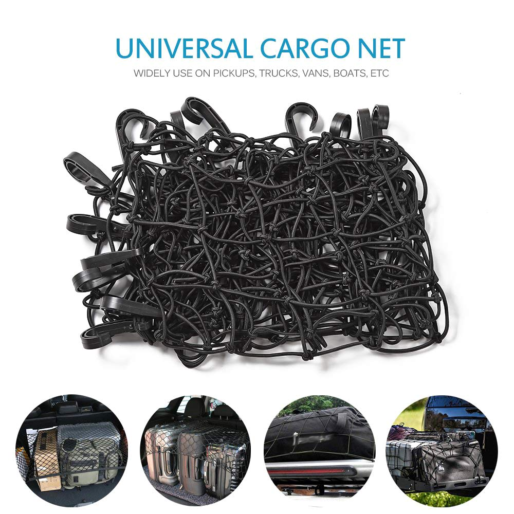 or RV Trailer Boat Voodonala 3.6x3.6 Bungee Cargo Net Stretches to 7.6x7.6 for Rooftop Cargo Rack for SUV Truck