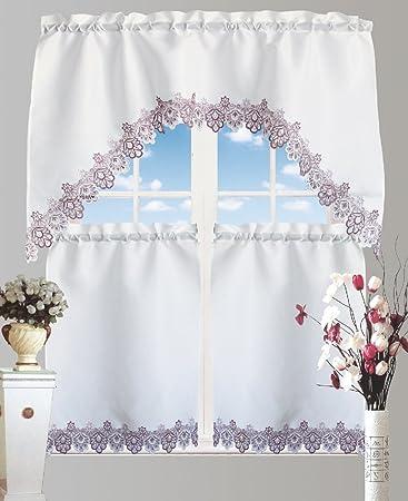 Bett Bad Auslass Küche Vorhang 3 Stück Küche Vorhang Querbehang ...