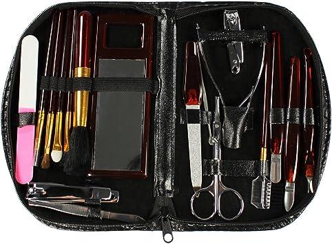 COM-FOUR® Set de maquillaje de manicura pedicura de 18 piezas, estuche de cosméticos: Amazon.es: Salud y cuidado personal