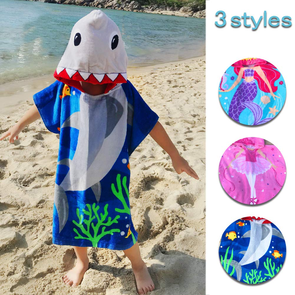 Kids Girls Boys Beach Towels Hooded 2-8 Years 100% Cotton Children Bathrobe Wearable Absorbent Wearable Cute Cartoon Breathable Soft Multi-use Swim Pool Home Outdoor (Shark, 60cm (23.6in) 2-6 Years)