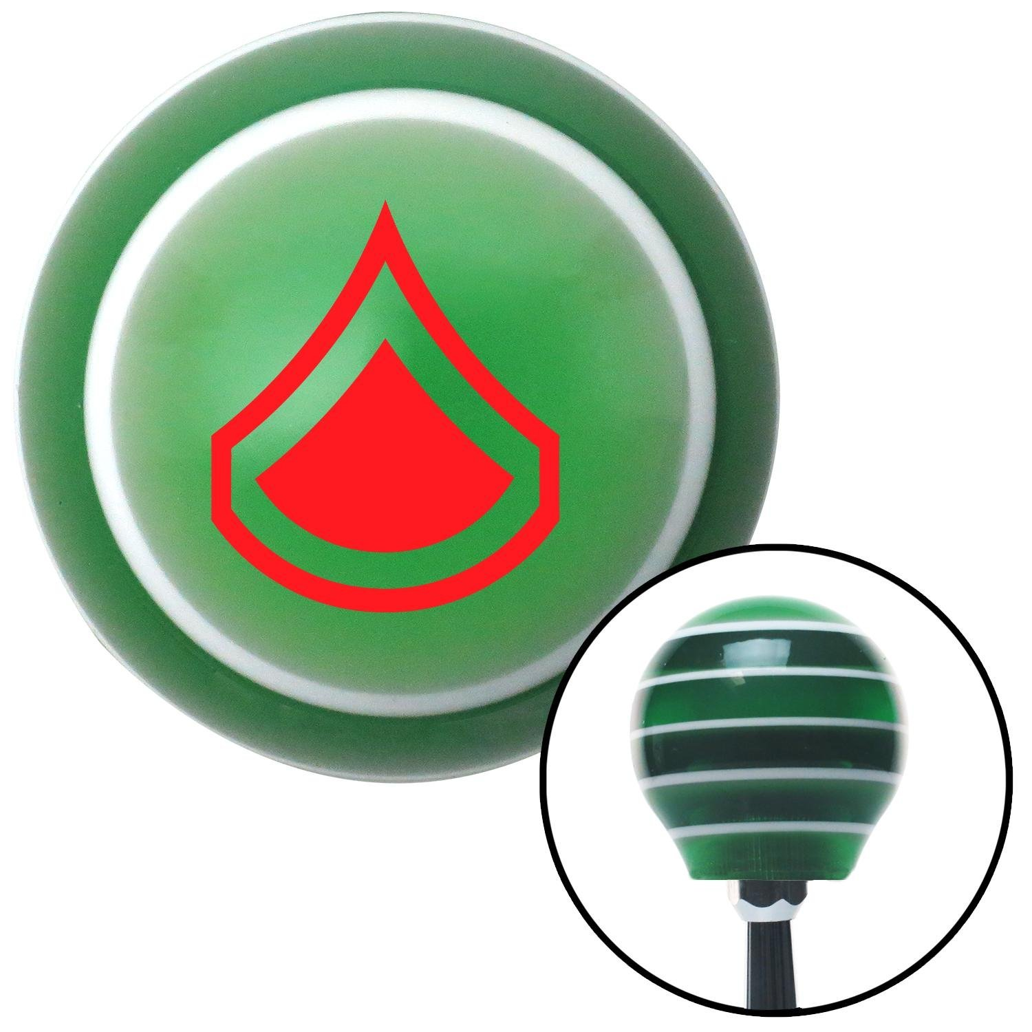 Red Private First Class American Shifter 124782 Green Stripe Shift Knob with M16 x 1.5 Insert