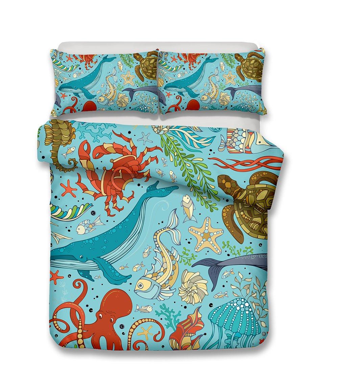California King helengili 3D Digital Printing bedding set submarine world ocean sea bedding bedclothes duvet cover sets bedlinen 100/% Microfiber gift present