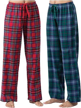 Amazon Com Addison Meadow Pantalones De Pijama Para Mujer Franela De Algodon 2 Unidades Color Rojo Y Verde Xl 16 Clothing