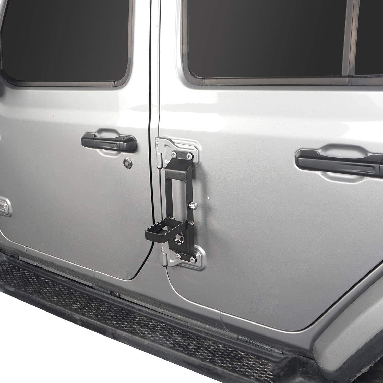 u-Box Door Hinge Step Metal Folding Foot Pedal w//Star Sign for 2018 2019 2020 Jeep Wrangler JL-1pcs
