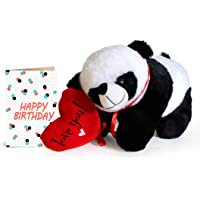 TIED RIBBONS Best Gift for Sister's Birthday Panda Teddy and Greeting Card