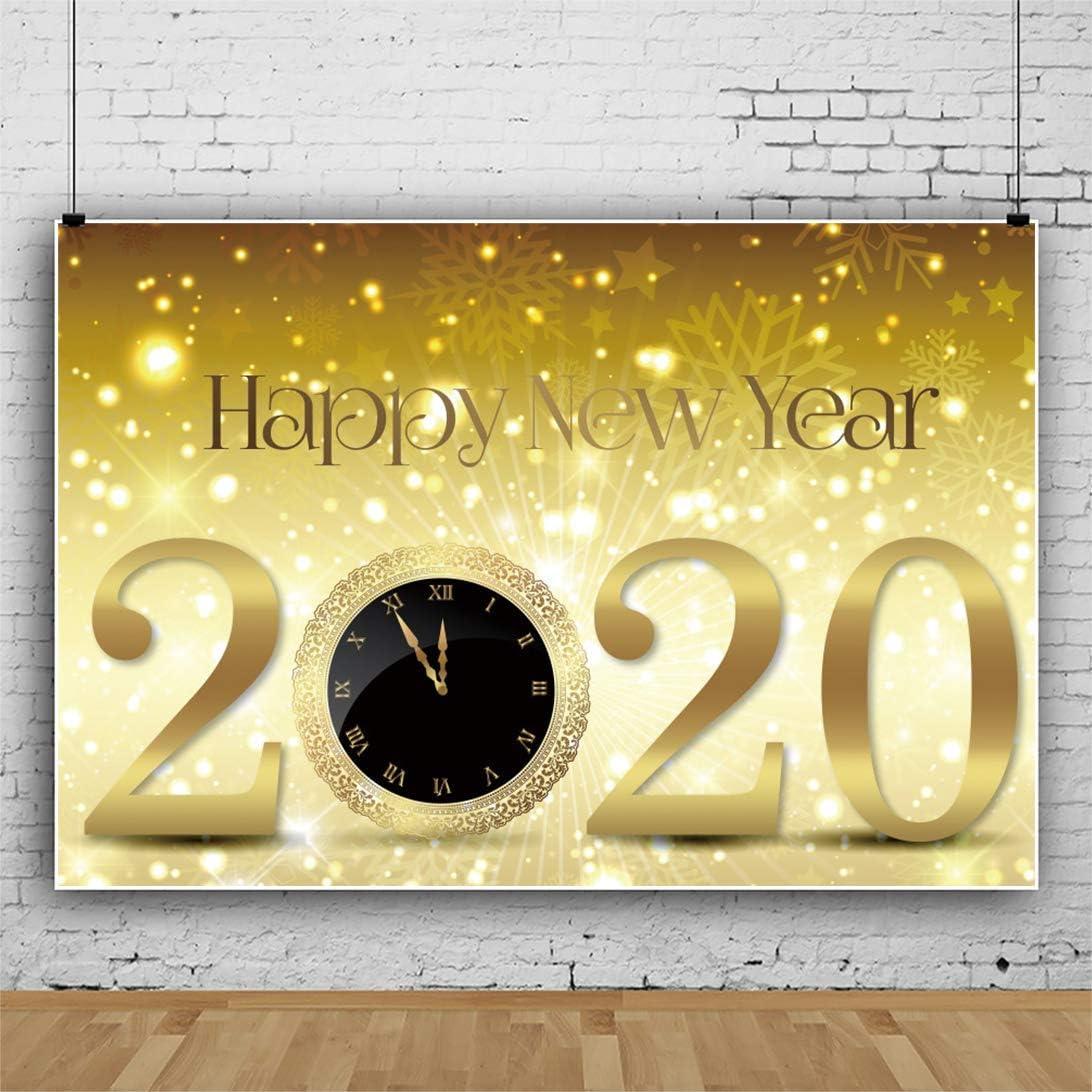 7x5ft Champagne 2020 New Year Backdrop Glitter Dots Snowflakes Golden Clock Sparkle Bokeh Orange Background for Photography Family Festive Party Kids Baby Portrait Photo Studio Props Vinyl
