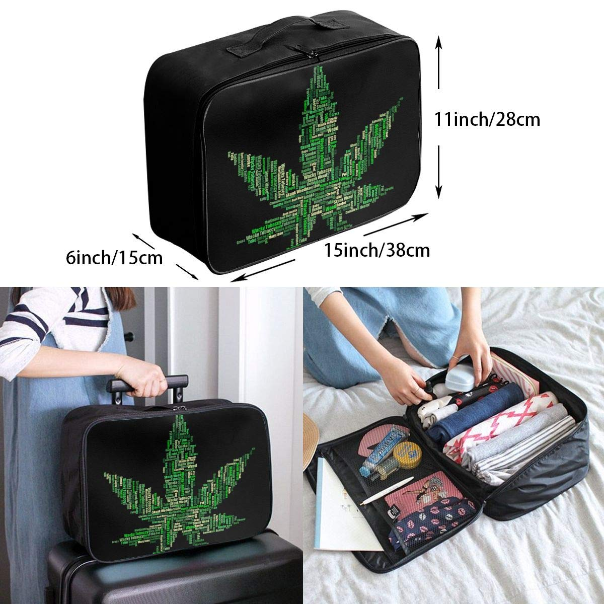Travel Luggage Duffle Bag Lightweight Portable Handbag Marijuana Leaf Large Capacity Waterproof Foldable Storage Tote