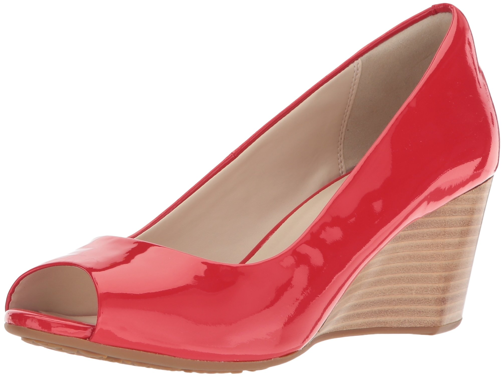 Cole Haan Women's Sadie Open Toe Wedge 65MM Pump, Aura Orange Patent, 7.5 B US