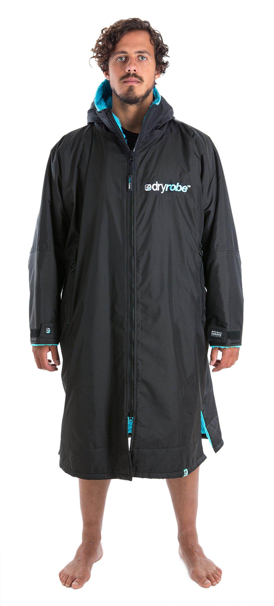 Dryrobe Advance Adult Changing Robe - Long Sleeve Change Poncho / Dry Robe Large Black / Blue