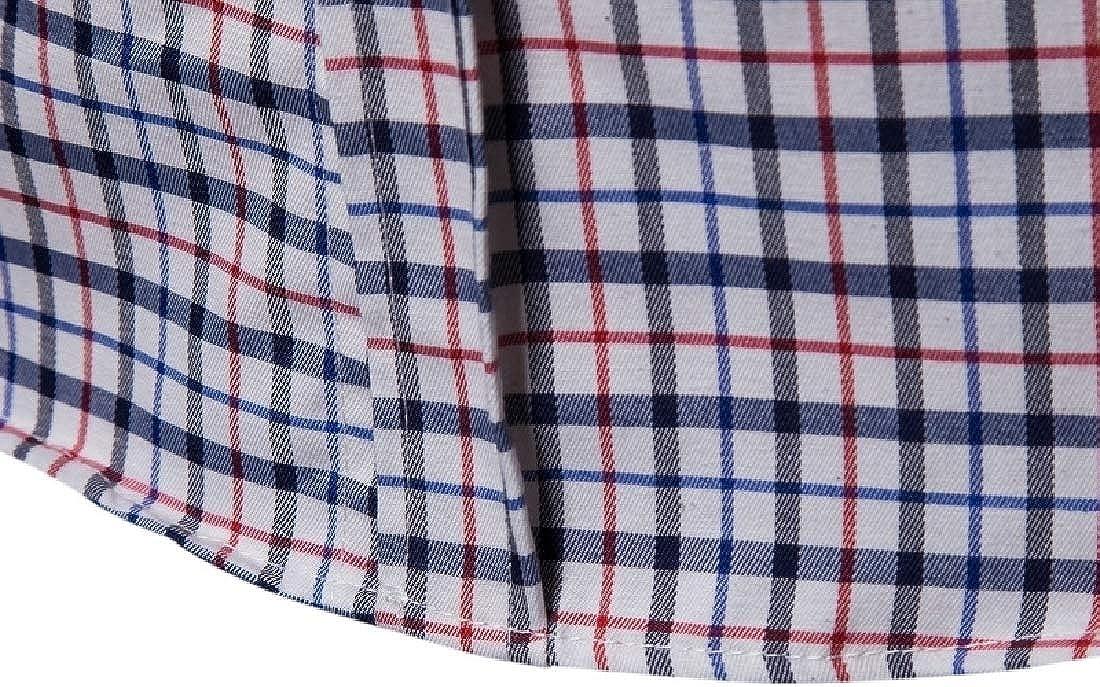 YUNY Men Regular-Fit Gingham Long-Sleeve Tops Comfortable Sport Shirt Red XL