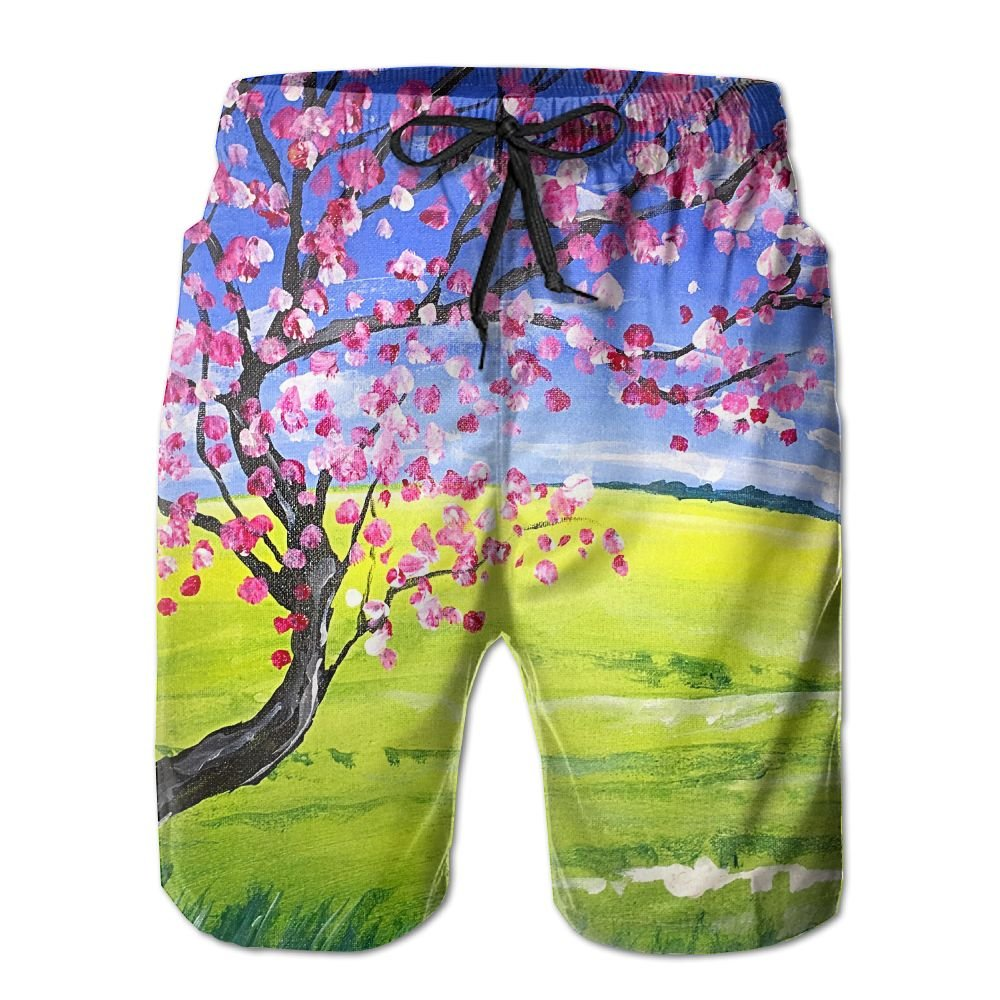 Sunshine Bloom Mens Beach Shorts Elastic Waist Pockets Lightweight Swimming Board Short Quick Dry Short Trunks