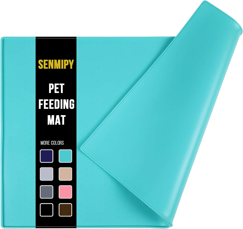 Senmipy Silicone Dog Food Mat - Waterproof Dog Bowl Mats for Food and Water Bowls, Raised Edges Non-Slip Cat Food Mat, BPA Free Pet Mats for Dog Bowls