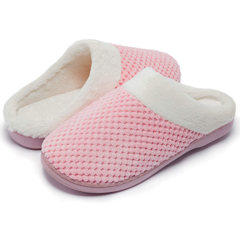 Senbore Zapatillas de Estar por casa con Forro de vell/ón para Mujer Antideslizantes Espuma de Memoria para Interiores Zapatos c/álidos acogedores de la casa