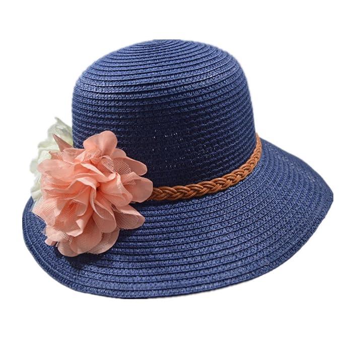 Leisial Mujer Gorra de Playa Sombrero para el Sol Paja de Ocio ...